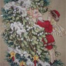 Rare Giampa Victorian Postcard Mistletoe Father Christmas Cross Stitch Kit Winter Fairy