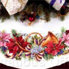 Karen Avery Elegant French Horn Poinsettias Cross Stitch Tree Skirt Kit Music Harmony