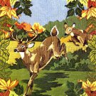 Rare Autumn Deer Run Longstitch Needlepoint Kit Buck Doe