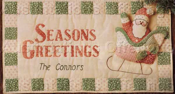 Rare Antiqued Quilted Santa Greetings Banner Stitchery Kit Suitable for Beginners