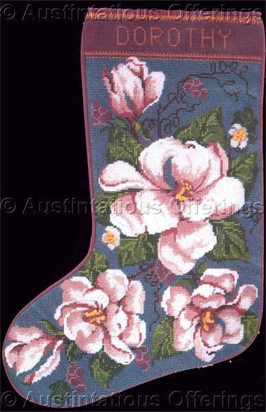Rare Cool Magnolia Blossoms Needlepoint Stocking Kit Elegant Christmas Floral