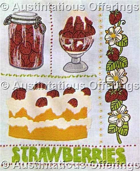 Nancy Edward Strawberry Sampler Crewel Embroidery Kit Diner Fun Strawberries