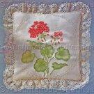 Rare Jean Fox Candlewicking Crewel Embroidery Floral Pillow Kit Geraniums