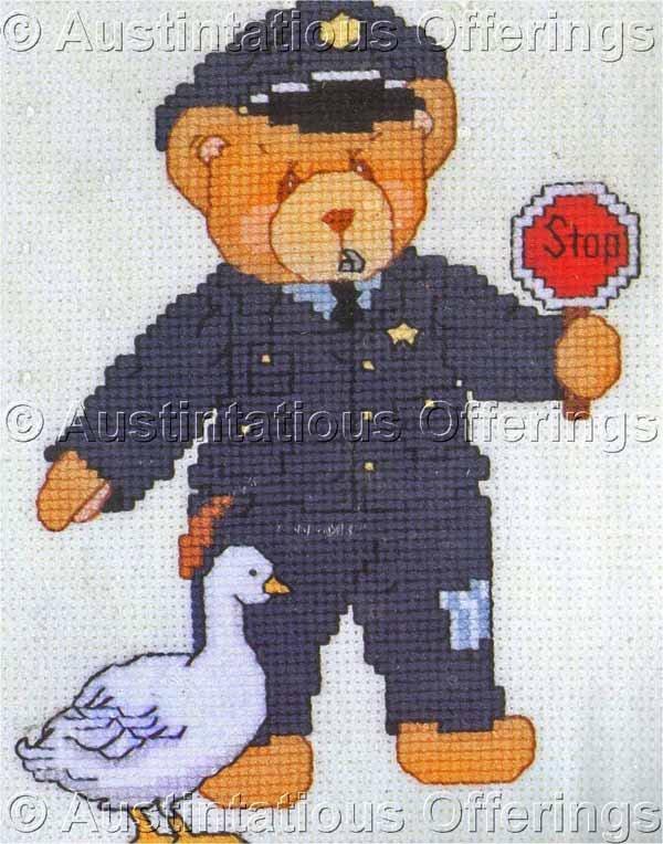 RARE PRISCILLA HILLMAN CHERISHED TEDDIES POLICE OFFICER COUNTED CROSS STITCH KIT