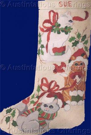 three country feline friends cross stitch christmas stocking kit kitty cats - Cross Stitch Christmas Stocking Kits