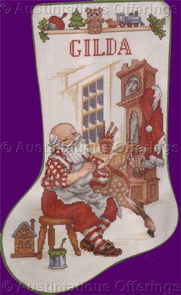 Nostalgic Santa in his Workshop Cross Stitch Stocking Kit Making Toys
