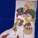 Rare Mr Mrs Snow Man Cross Stitch Stocking Kit Frosty and his Missus