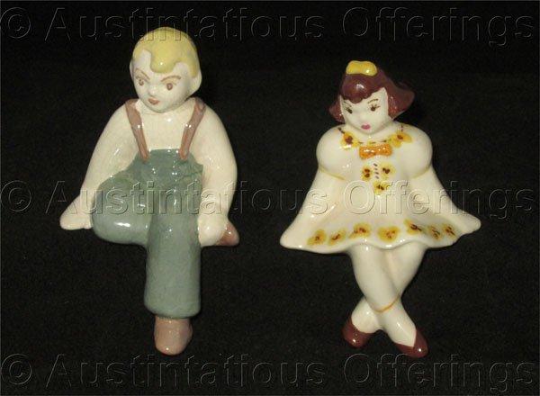 Mid Century Porcelain Farm Boy and Girl Shelf Sitter Figurines