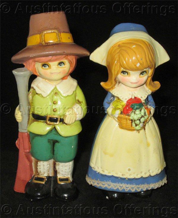 Vintage Mid Centry Napcoware porcelain Pilgrim Boy and Girl Figurines