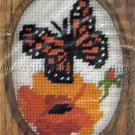 Vintage Banar Floral Needlepoint With Monarch Butterfly Kit