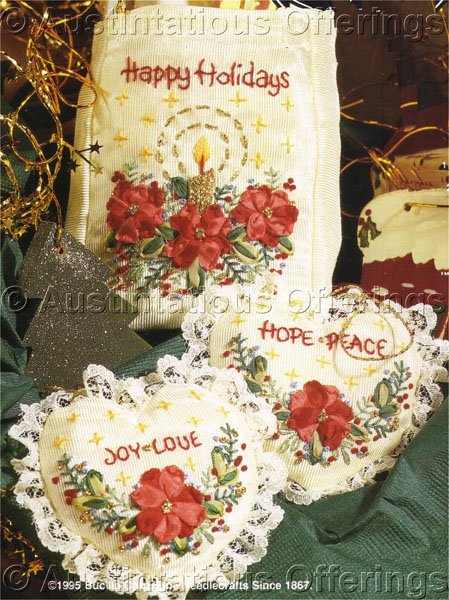 Christmas Gift Giving Moire Holiday Gift Set Silk Ribbon Embroidery Set Kit