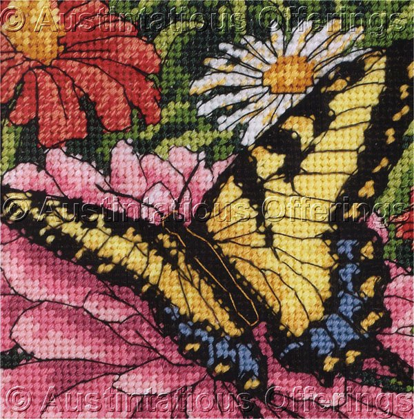 Dramatic Summer Flowers & Butterfly Needlepoint Kit Resting with the Zinnias