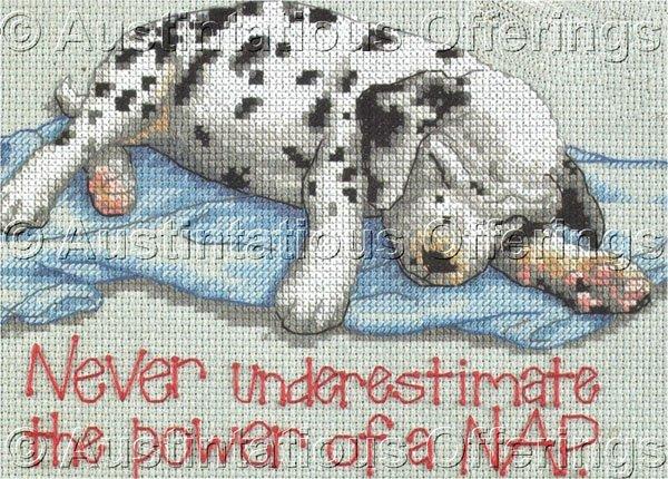 Rare Sleepy Dog Jiffy Naptime Counted Cross Stitch Kit Dalmatian Puppy