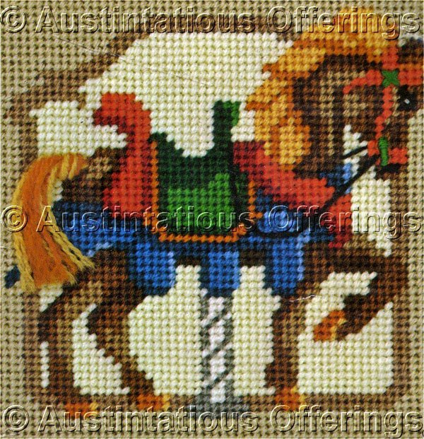 Rare Enstaff Jiffy Carousel Needlepoint Kit Merry Go Round  Riding Pony