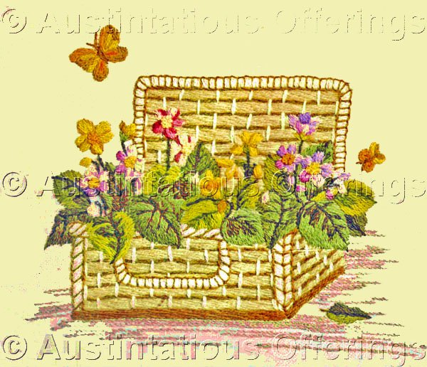 Rare Gosz Spring Flower Basket Crewel Embroidery Kit Charming Victorian Postcard Style