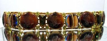 Rare Vintage Florenza Intaglio Bracelet with Earring Set Rhinestones Brown Slag Watermelon Glass