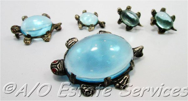 Vintage Clear Aqua Blue Jelly Belly Turtle Pins and Earring Set