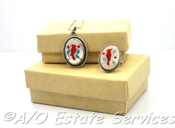 Vintage Native American Inlay Silver Ring & Pendant Mother of Pearl Turquoise Coral