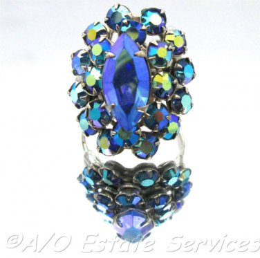 Rare Vintage Blue Glass Rhinestone SIlver Toned Adjustable Ring Gatsby Bling