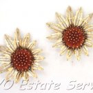Rare Stunning Sunflowers Signed Sarah Coventry 3 Dimensional  Floral Clip Back Earrings
