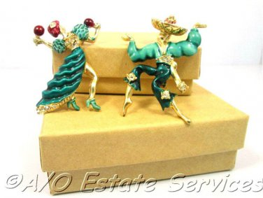 Rare Spanish Dancers Enamel Brooch Pair Vintage Mexican Lovers Dancing Pins