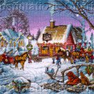 Terry Redlin Palace of Sweets Cross Stitch Kit Winter Village Candy Shop