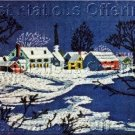 Folk Art Farm Village Crewel Embroidery  Kit Snowy Countryscape Beginning or Experienced Stitcher