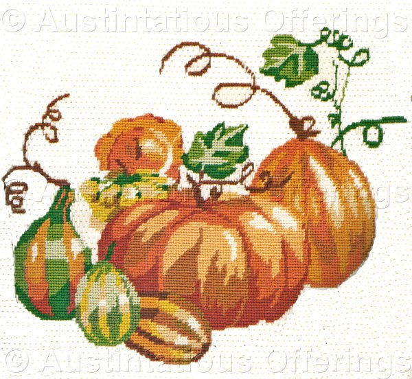 Rare Autumn Harvest Needlepoint Kit Striped Gourds and Pumpkins