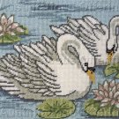Elegant Swan Pair Needlepoint Kit Swimming with the Lilies