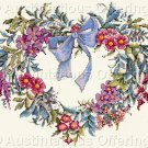 Rare LeClair Ribboned Heart Wreath Cross Stitch Kit Flowers Herbs Suitable for Beginner Stitcher