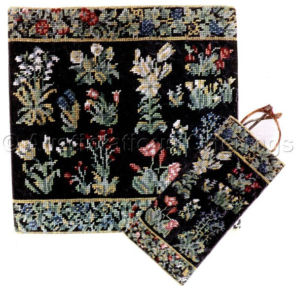 RARE MUSEUM MILLE FLEURS FLORAL TAPESTRY NEEDLEPOINT KIT PILLOW PORTRAIT OR 2 SIDED EYEGLASS CASE