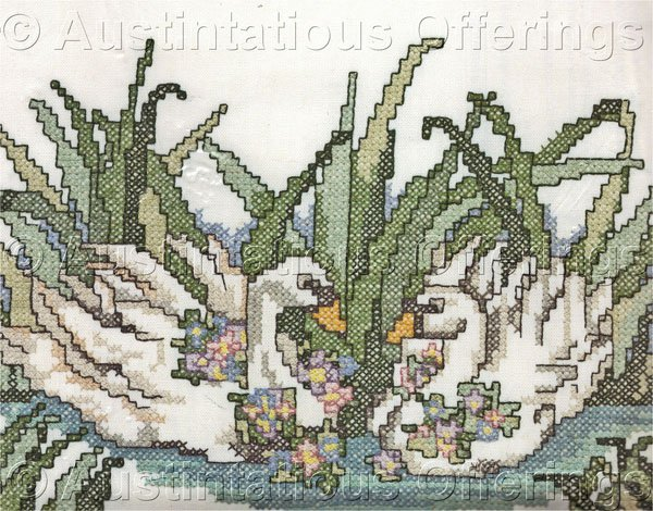 Beginners Swan Pair Stamped Cross Stitch Kit