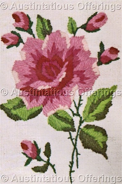 Beginners Pink Rose with Buds Crewel Embroidery Kit