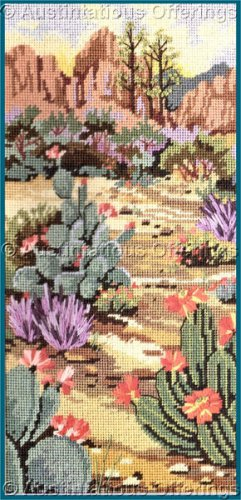 RARE GEREMIA SOUTHWEST RED ROCK VISTA NEEDLEPOINT KIT CACTUS