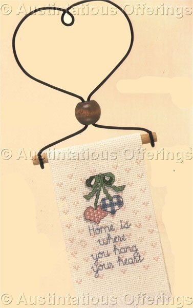 Country Cross Stitch Kit Home is Wire Heart Hanger