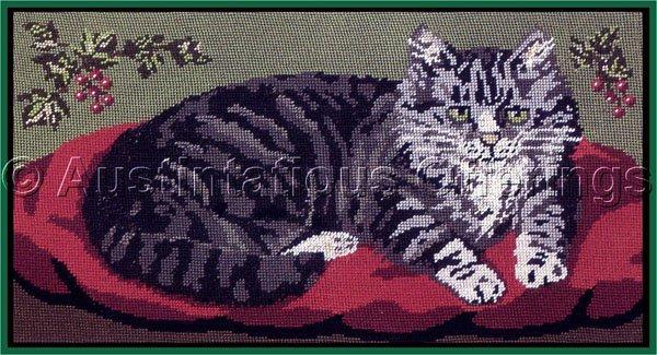 SARA DAVENPORT VICTORIAN TABBY KITTY CAT TAPESTRIES GREY TABBY  NEEDLEPOINT KIT