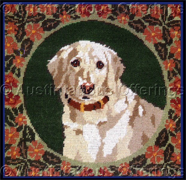 SARA DAVENPORT VICTORIAN DOG TAPESTRIES GOLDEN RETRIEVER NEEDLEPOINT KIT