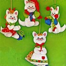 Rare Three Little Kittens with Mittens Felt Applique Embroidery Kit Christmas Ornaments