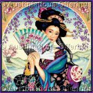 Rare Marty Noble Asian Beauty Cross Stitch Kit Geisha Kimono Fan Floral