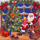 Rare Gerrish Childhood Visit with Santa Needlepoint Kit Christmastime Fun