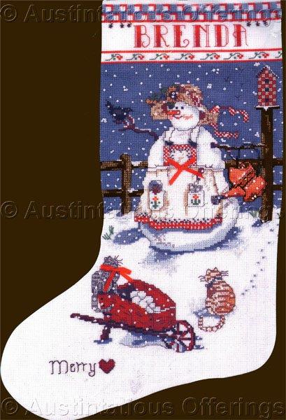 Rare Sandi Gore Evans Lady Snowman Cross Stitch Christmas Stocking Kit Snowy Garden