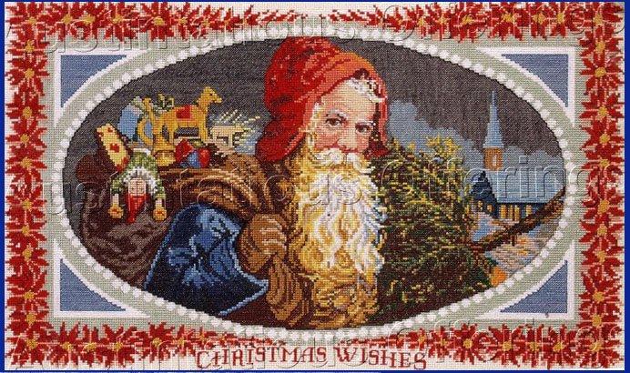 RARE VINTAGE POSTCARD SANTA CLAUS CHRISTMAS CROSS STITCH KIT SAINT NICHOLAS