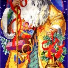 RARE GOLDEN ROBED VINTAGE POSTCARD STYLE WOODLAND SANTA NEEDLEPOINT KIT