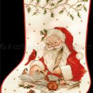 Rare Giordano Santa Claus Checking his List Cross Stitch Stocking Kit
