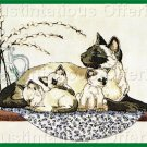 RARE POWELL MOTHER CAT CREWEL EMBROIDERY KIT CUDDLY SIAMESE KITTENS