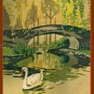 Rare Rienstra Peaceful Waterside Bridge Crewel Embroidery Kit Riverbank Swans