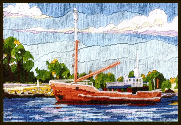 Rare Summer Fishing Trawler Nautical Longstitch Needlepoint Kit Boat  Harbor