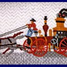 RARE ANTIQUE STEAM TRAIN LONGSTITCH  TEXTURED NEEDLEPOINT KIT
