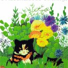 Rare Wilson Tiger Cat Crewel Embroidery Kit Bright Autumn Garden