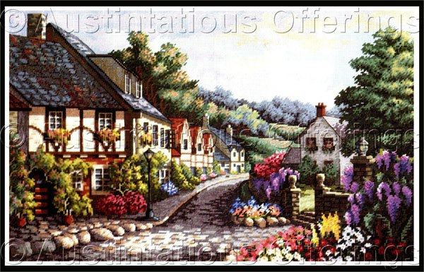Rare Carl Valente Artwork Reproduction Village Memories Cross Stitch Kit Gold Collection